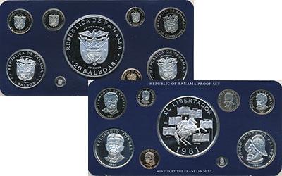 Изображение Подарочные монеты Панама Набор 1981 года 1981  Proof Набор из девяти моне