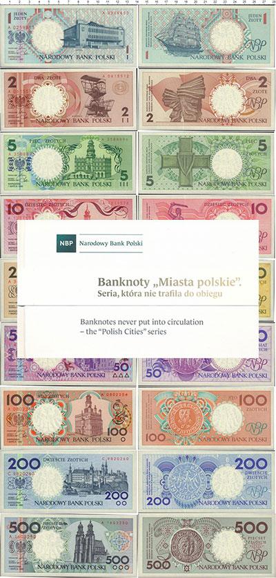 Изображение Подарочные монеты Польша Польские города 1990  UNC `Набор пробных банкн