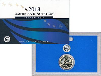 Изображение Подарочные монеты США 1 доллар 2018 Латунь Proof Американскме инновац