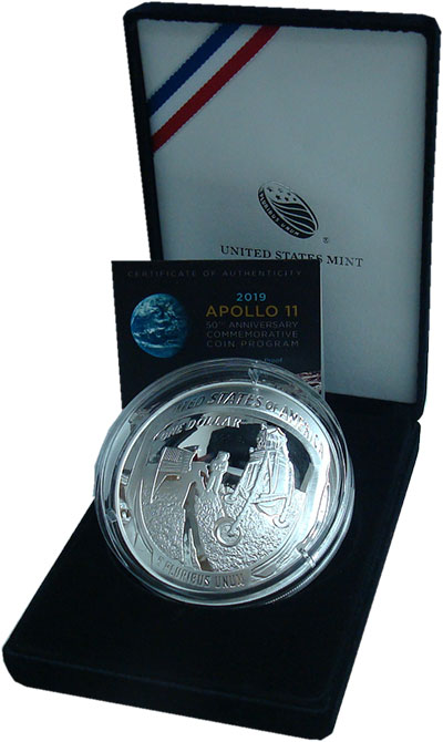 Изображение Подарочные монеты США 1 доллар 2019 Серебро Proof Серебро 999 пробы. 1