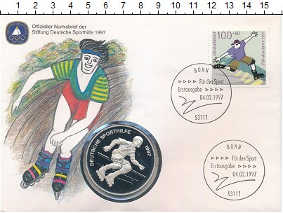 Изображение Подарочные монеты Германия Медаль 1997 Посеребрение Proof Спорт в Германии. Ро