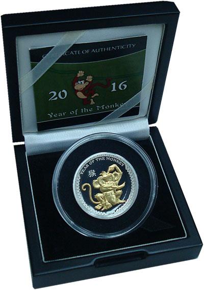 Изображение Подарочные монеты Палау 5 долларов 2016 Серебро Proof Год обезьяны. Серебр