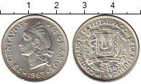 Изображение Монеты Доминиканская республика 25 сентаво 1963 Серебро UNC-