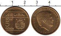 Изображение Монеты Нидерланды Аруба 5 флоринов 2014 Латунь XF