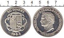 Изображение Монеты Андорра 50 динерс 1964 Серебро Proof