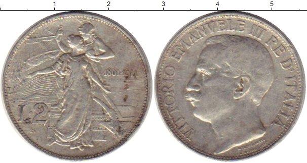 Картинка Монеты Италия 2 лиры Серебро 1911