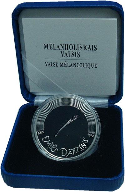 Изображение Подарочные монеты Латвия 5 евро 2015 Серебро Proof Меланхолия.<br>Сере