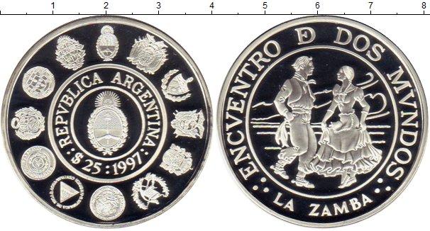 Картинка Монеты Аргентина 25 песо Серебро 1997