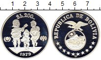 Изображение Монеты Боливия 200 боливар 1979 Серебро Proof-