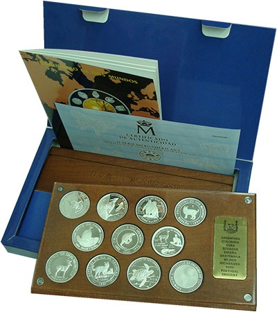 Изображение Подарочные монеты Португалия 10 долларов 1994 Серебро Proof Набор из 10 монет и