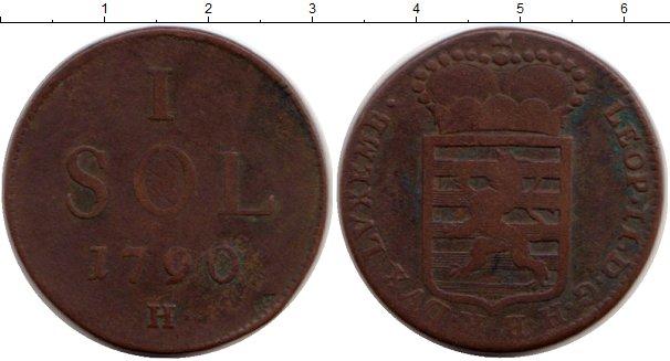 Картинка Монеты Люксембург 1 соль Медь 1790