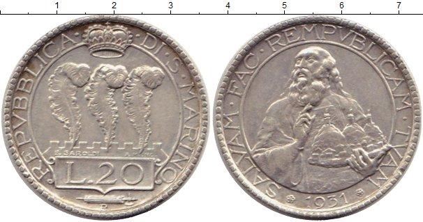 Картинка Монеты Сан-Марино 20 лир Серебро 1931