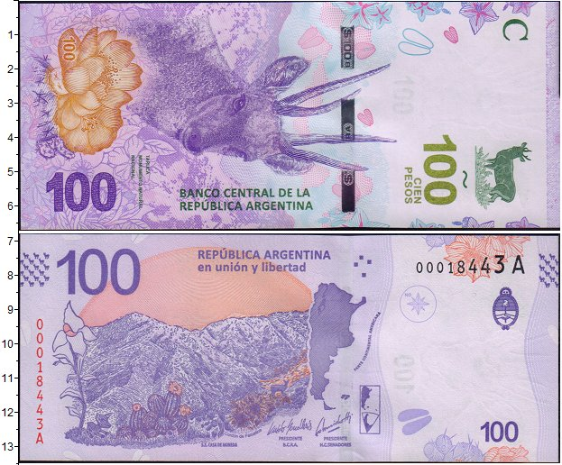 Картинка Банкноты Аргентина 100 песо  2018