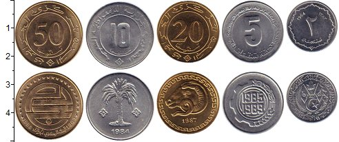 Изображение Наборы монет Алжир Алжир 1964-1989 0  UNC- В наборе 5 монет ном