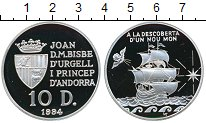 Изображение Монеты Андорра 10 динерс 1994 Серебро Proof-