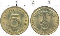 Изображение Монеты Германия Третий Рейх 5 пфеннигов 1937 Латунь XF
