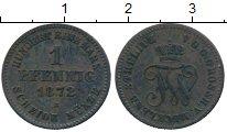 Изображение Монеты Германия Мекленбург-Стрелитц 1 пфенниг 1872 Медь XF-