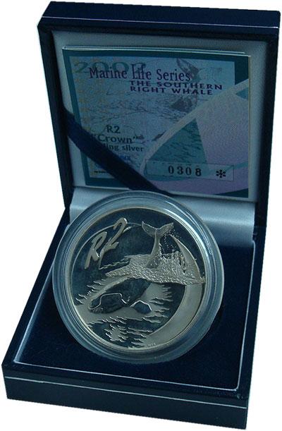 Изображение Подарочные монеты ЮАР 2 ранда 2002 Серебро Proof- Сохранение животного