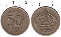Изображение Монеты Швеция 50 эре 1954 Серебро VF