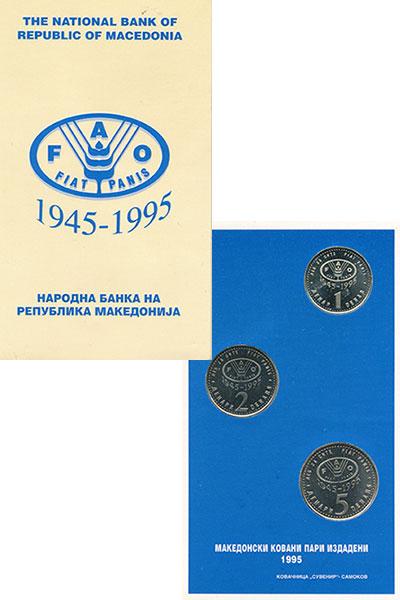 Изображение Подарочные монеты Македония Македония 1995 1995 Латунь AUNC В наборе 3 монеты но