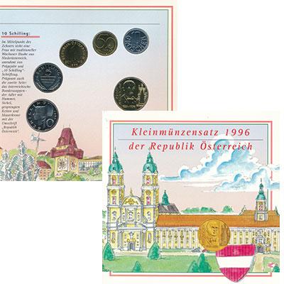 Изображение Подарочные монеты Австрия Набор 1996 года 1996  UNC В набор входят пять