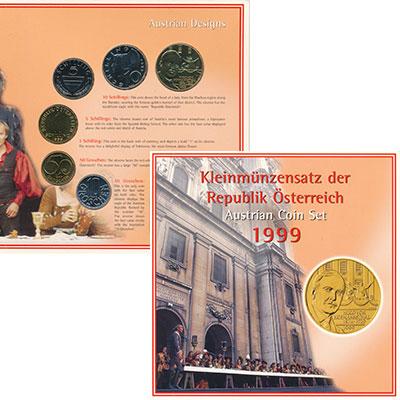 Изображение Подарочные монеты Австрия Набор 1999 года 1999  UNC В набор входят пять