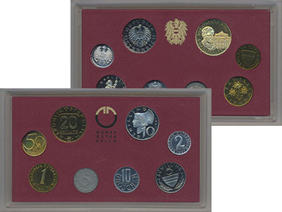 Изображение Подарочные монеты Австрия Набор 1991 года 1991  Proof В набор входят семь