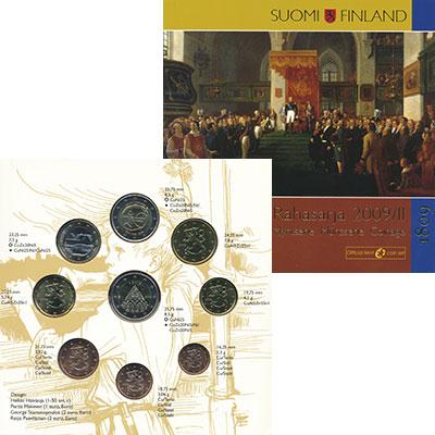 Изображение Подарочные монеты Финляндия Евронабор 2009 года 2009  UNC В набор входят семь