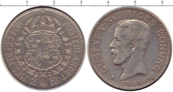 Картинка Монеты Швеция 2 кроны Серебро 1929