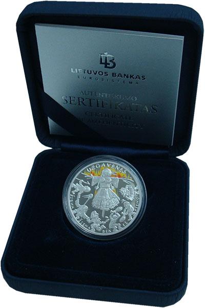 Изображение Подарочные монеты Литва 5 евро 2019 Серебро Proof Масленица. Тираж 300
