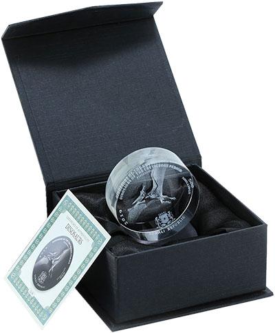 Изображение Подарочные монеты Сомали 500 шиллингов 2019 Стекло UNC Птерадонт. Монета из