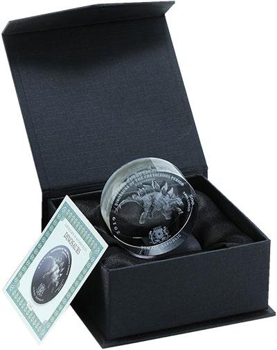 Изображение Подарочные монеты Сомали 500 шиллингов 2019 Стекло UNC Стегозавр. Монета из