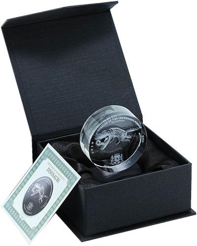 Изображение Подарочные монеты Сомали 500 шиллингов 2019 Стекло UNC Мозазавр. Монета из