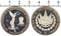 Изображение Монеты Сальвадор 5 колон 1971 Серебро Proof-