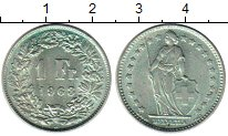 Изображение Монеты Швейцария 1 франк 1963 Серебро UNC-