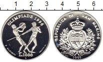 Изображение Монеты Сан-Марино 1000 лир 1995 Серебро Proof