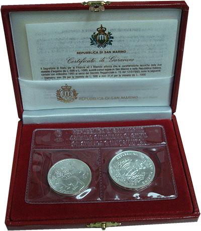 Изображение Подарочные монеты Сан-Марино Серебряные монеты 1993 года 1993 Серебро UNC
