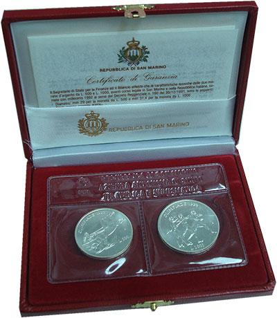 Изображение Подарочные монеты Сан-Марино Олимпийские игры 1992 года 1992 Серебро UNC Набор посвящен Олимп