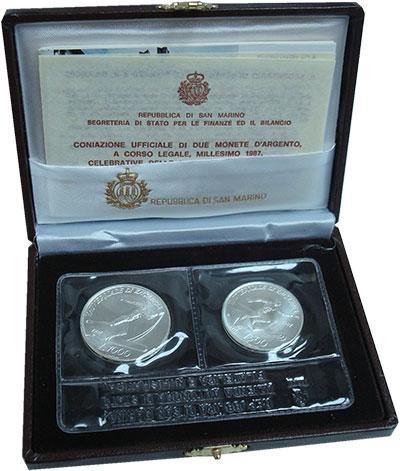 Изображение Подарочные монеты Сан-Марино Студенческие спортивные игры в Загребе 1987 Серебро UNC Набор посвящен студе