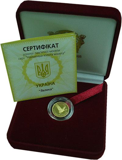 Изображение Подарочные монеты Украина 2 гривны 2004 Золото Proof Аист. 1,24 грамма,