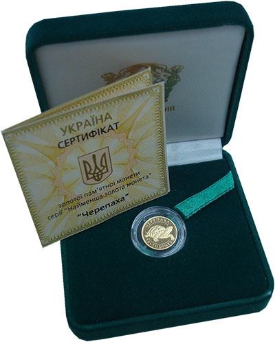 Изображение Подарочные монеты Украина 2 гривны 2009 Золото Proof Черепаха. 1,24 грамм