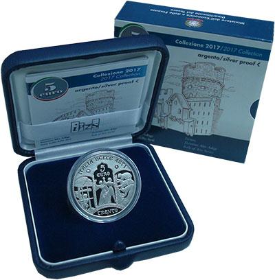 Изображение Подарочные монеты Италия 5 евро 2017 Серебро Proof Монета 5 евро, отчек