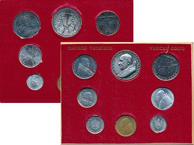 Изображение Подарочные монеты Ватикан Консилиум 1962  UNC Набор монет 1961 и 1