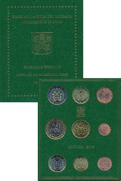Изображение Подарочные монеты Ватикан Набор 2018 года 2018  UNC Набор регулярного вы