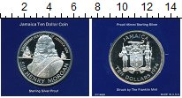 Изображение Мелочь Ямайка 10 долларов 1974 Серебро Proof
