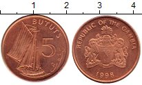 Изображение Монеты Гамбия 5 бутут 1998 Бронза XF