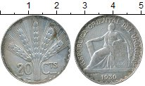 Изображение Монеты Уругвай 20 сентесим 1930 Серебро VF
