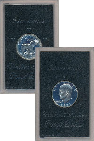 Изображение Подарочные монеты США 1 доллар 1971 Серебро Proof- Дуайт Дэвид Эйзенхау