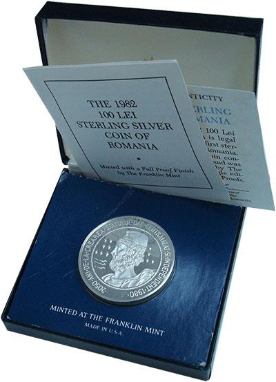 Изображение Подарочные монеты Румыния 100 лей 1982 Серебро Proof !!! Крайне редкая мо