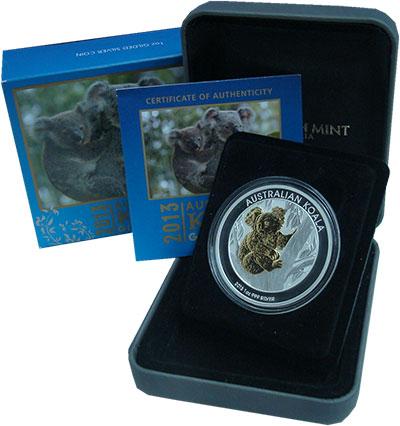 Изображение Подарочные монеты Австралия 1 доллар 2013 Серебро Proof Коала. Позолота. Ори